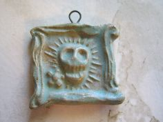 Framed Green Ceramic Day of the Dead Skull Pendant by jansbeads, $22.00