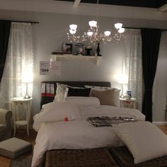 Ikea bedroom- love the colors, curtains and white bedding