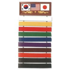 UAG Deluxe Martial Arts Karate Judo Ten Level Belt Wall Display Rack Holder Show Case Wood Plaque by UAG- Ultimate Arms Gear. $24.95. Official UAG, Brand New. Achievement Show Case for All Martial Arts, Karate, Taek Won Do, Moo Duk Kwan, and Kungfu Level Degree Belts. Comes with Three National Flags: USA, Korea and Japan Adorn The Top Of The Display. Beautiful Showroom Wood Display Plaque. Can Connect Up To A 10 Belt Display To Proudly Show Off Your Belts. Comes Complete With ...