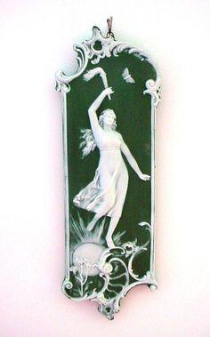 Lady liberty jasperware plaque