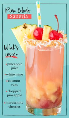 Super easy and tropical 5 ingredient pina colada sangria is a refreshing summer beverage! This boozy sangria punch makes enough to serve a crowd. #sangria #pinacoladasangria #summersangria #pineapplesangria Alcohol Drink Recipes, Sangria Recipes, Fun Summer Drinks Alcohol, Drinks With Pineapple Juice, Alcoholic Punch Recipes, Summer Beverages, Easy Summer Cocktails, Easy Punch Recipes, Summer Sangria