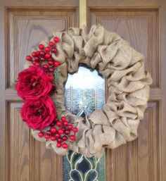 Items similar to Red Burlap Christmas Wreath - Holiday Wreath - Christmas Gift on Etsy Holiday Burlap Wreath, Burlap Christmas, Merry Little Christmas, Diy Wreath, Holiday Wreaths, Holiday Crafts, Wreath Ideas, Easy Burlap Wreath, Winter Wreaths