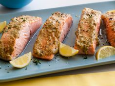 Broiled Salmon with Herb Mustard Glaze : Giada uses fresh herbs and mustard to make a flavorful-yet-light glaze for topping broiled salmon fillets.