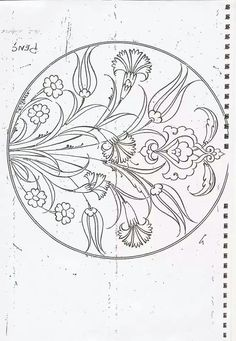 Embroidery Patterns of Turkish Çini motifi: from li. jwt I don't know what these Designs are Originally used for, they look like Scroll Work? They will make Beautiful Embroidery Work! Islamic Art Pattern, Pattern Art, Hand Embroidery Patterns, Embroidery Designs, Coloring Books, Coloring Pages, Turkish Pattern, Persian Motifs, Turkish Art