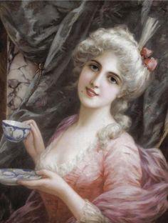 """Tea time"" by Emile Eismann-Semenowsky (1857-1911)."