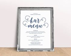 Navy Blue Wedding Menu Template Wedding Dinner Menu Rustic