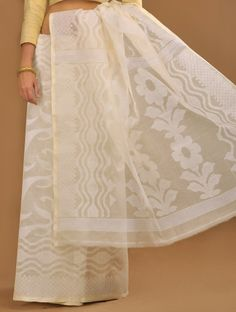 Ivory Dhakai Jamdani Cotton Saree