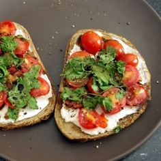 Perfect summer appetizer: Goat cheese, cherry tomato and basil.