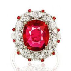 Fine Ruby no heat over 5 carat! Ruby Jewelry, I Love Jewelry, Gemstone Jewelry, Jewelry Rings, Titanic Jewelry, Unusual Jewelry, July Birthstone, All That Glitters, Emeralds