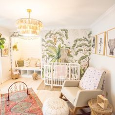 gender neutral nursery room ideas we love! Jungle Theme Nursery, Nursery Themes, Nursery Room, Girl Nursery, Girl Room, Whimsical Nursery, Jungle Baby Room, Garden Nursery, Floral Nursery