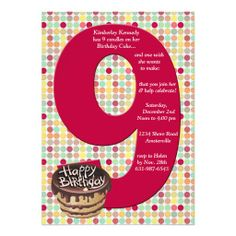Shop Big 9 Birthday Party Invitation created by PixiePrints. 9 Year Old Girl Birthday, 9th Birthday Parties, Birthday Celebrations, Birthday Party Invitation Wording, Free Printable Birthday Invitations, Invite, Happy Birthday Writing, Cupcake Party, Cupcake Birthday