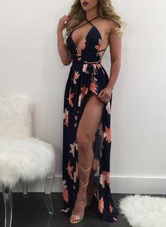 Deep V Neck Sleeveless Backless High Split Maxi Prom Dress