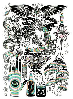 Images of bohemian drawings - Art And Illustration, Illustrations, Kunst Tattoos, Body Art Tattoos, Female Hand Tattoos, Weird Tattoos, Tatoos, Arte Sketchbook, Desenho Tattoo