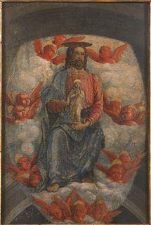 Criisto recibiendo a la virgen, pinacoteca nazionale de ferrara. Parte superior de la obra El Transito de la Virgen, Andrea Mantegna, Museo del Prado.