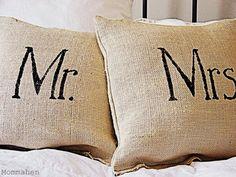 Mr. & Mrs. burlap pillow tutorial