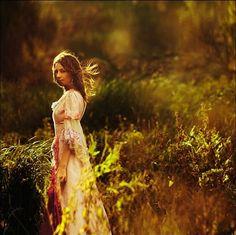 beauty, dress, flowers, girl, nature, sunlight