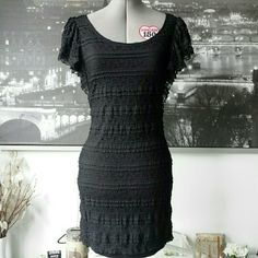 2 For $13 H&M Black Lace Winged Cap Sleeve Dress