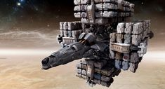 Jim Martin Concept Art: Loaded Cargo Ship. A Space Version of What Travels Earth's Oceans.