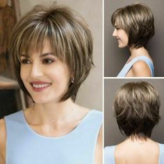 Details about Women Short Straight Wigs Omrbe Brown Blonde Mix Fashion Full Bob Hair Cosplay - Platinum Blonde Hair Short Hairstyles For Thick Hair, Short Hair With Layers, Short Bob Haircuts, Hairstyles Haircuts, Short Hair Cuts, Curly Hair Styles, Short Highlighted Hairstyles, Short Bob Cuts, Brown Hairstyles