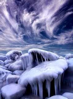 Forgotten Tale - The shore of Lake Michigan in Wisconsin during a polar vortex.