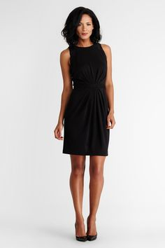 This effortless black jersey sheath is both flattering and functional.