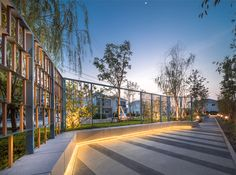 ChuanChuen Park On-nut on Behance Landscape And Urbanism, Landscape Architecture Design, Landscape Walls, Futuristic Architecture, Exterior Wall Design, Entrance Design, Gate Design, Architectural Lighting Design, Landscape Lighting Design