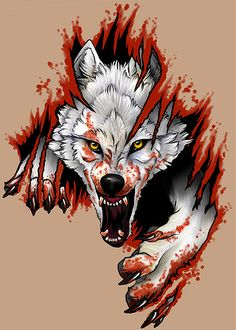 wolf tattoo with  blood
