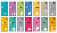 Series of brochures for a sporting venue. The graphic language consists of bright colours with simple white shape graphics expressing forms of objects therefore there is a sense of continuity and of a system of identification. The objects represent the sp Design Web, Icon Design, Layout Design, Print Design, Graphic Design Trends, Flyer Design, Leaflet Design, Booklet Design, Corporate Design