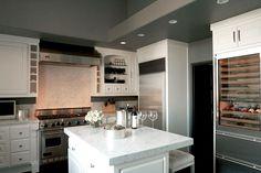 Kishani Perera kitchen, white, gray, carrera marble