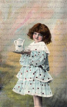 Vintage Ansichtskarte Zum Geburtstag, Mädchen mit Kaffeetablett zum direkten digitalen download, 3 dateien von arteaustria auf Etsy