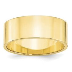 8MM Flat Edge Lightweight Plain Wedding Band In 10K Yellow Gold Gemologica.com offers a large selection of wedding bands in 10K and 14K yellow and white gold for men and women. We have styles including comfort fit, half round edges, flat edges, flat comfort fit, flat step down edge, half round with milgrain, plain, classic, antique style and bevel edge. Our complete collection of gold wedding rings jewelry: www.gemologica.com/mens-gold-wedding-bands-c-28_46_316_320.html
