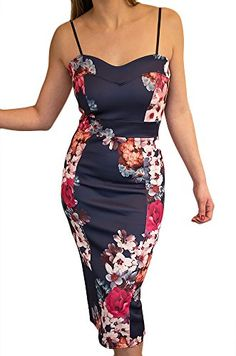 583ba0710b New Women s Navy Blue Flower Print Fitted Stretch Bodycon Midi Party Dress  Adjustable Thin Straps Sweet Heart Shaped Neck Line