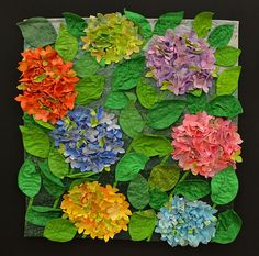 Fabric 3D flowers quilted wall hanging. Brilliant.
