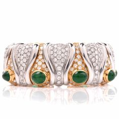 Estate 29.76ct Diamond Emerald Gold Cuff Bangle Bracelet Item # 131149