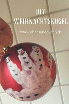 DIY Weihnachtskugel. Perfekt zum Basteln mit kleinen Kindern und eine schöne Geschenkidee für Oma und Opa.