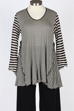 Giselle Shepatin - Striped Tunic - Black & Khaki