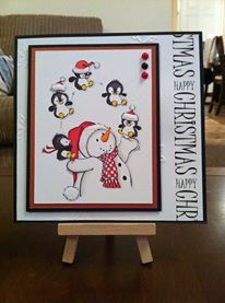 Archie and Pals Christmas Card - Black, White & Red 6 x 6 (HobbyArt Stamp)
