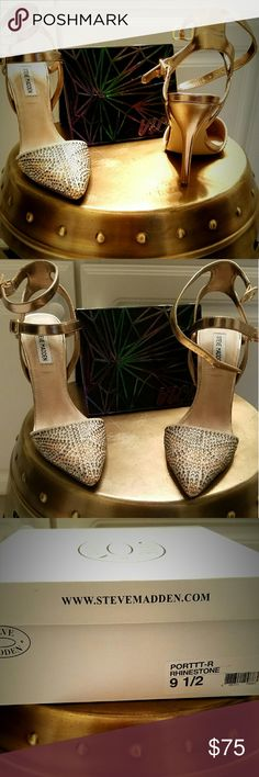 """Steve Madden PORTTT-R RHINESTONE Heels Beautiful gold rhinestone heels, almond-toe 4 1/2"""" size 9 1/2 with ankle straps. Rhinestones grey and gold add the right amount of shoe bling. Only worn once to a wedding in excellent condition!! Steve Madden Shoes Heels"""