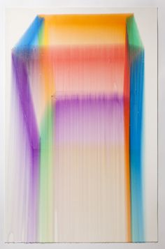 "Cube, Rainbow. 2011 Marker, gloss medium on paper 26"" x 40"""