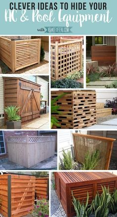 Clever Ways to Hide AC & Pool Equipment More inspiration today!Are you tired of seeing your ugly AC or pool equipment? Then read on to find easy ways to hide it! This time I'll show you my inspiration on hiding your AC & pool e… Backyard Projects, Outdoor Projects, Backyard Patio, Backyard Landscaping, Landscaping Ideas, Landscaping Around Pool, Backyard Shade, Pool Shade, Outdoor Decor