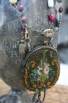 Beaded coin purse necklace