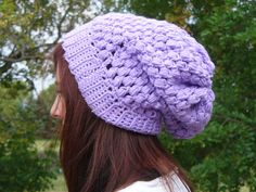 Lilac Crocheted Slouch Hat by ACCrochet on Etsy, $22.00