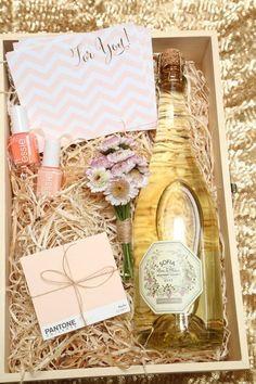 bridesmaid gift ideas with nail polish and champagne
