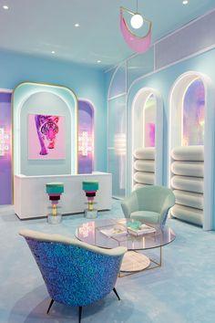 vaporwave bedroom Cheap Home Decorating Sites Key: 7145174197 Neon Bedroom, Bedroom Decor, Bedroom Ideas, Interior Architecture, Home Interior Design, Pastel Interior, Futuristic Interior, Aesthetic Rooms, Neon Aesthetic