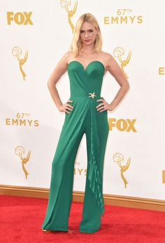 January Jones in an Ulyana Sergeenko jumpsuit and Tiffany & Co. jewelry at the 2015 Emmys. See what all the stars wore to the ceremony.