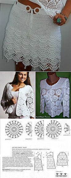 "(54) Одноклассники [   ""Embroidery 100 kinds of crosses. // Альфира Надыршина"",   ""All the Irish lace // Людмила Полякова"",   ""Crochet suit jacket and skirt"" ] #<br/> # #Skirt,<br/> # #Crochet #Patterns,<br/> # #Posts,<br/> # #Suit #Jackets,<br/> # #Kardigan,<br/> # #Women"