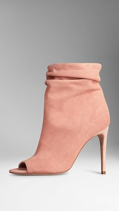 Antique taupe pink Suede Peep-Toe Boots - Image 1