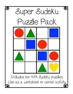 This is a sample pack of ten different 4X4 Sudoku puzzles. Perfect for 5-8 year olds to begin on their Sudoku journey. Use as a worksheet or as part of a math center activity (see instructions). These Sudoku puzzles are great for problem solving, critical thinking, cooperative learning, and for an early finisher folder.Enjoy!