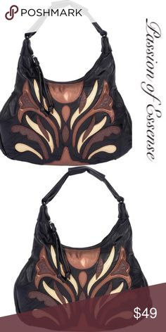 """Italian Stone Genuine Lambskin Leather Purse Features decorative leather design; zippered main compartment; exterior zippered pocket; 2 interior pockets and pen holder; reinforced hand strap; and tassel zipper-pulls. Measures 14"""" x 10"""" x 3-1/4"""". Embassy  Bags Hobos"""