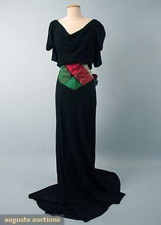Black Crepe Evening Gown, 1940s, Augusta Auctions, October 2006 Vintage Clothing & Textile Auction, Lot 907